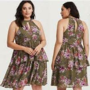 🚨NEW Torrid Olive Floral Chiffon Ruffle Dress